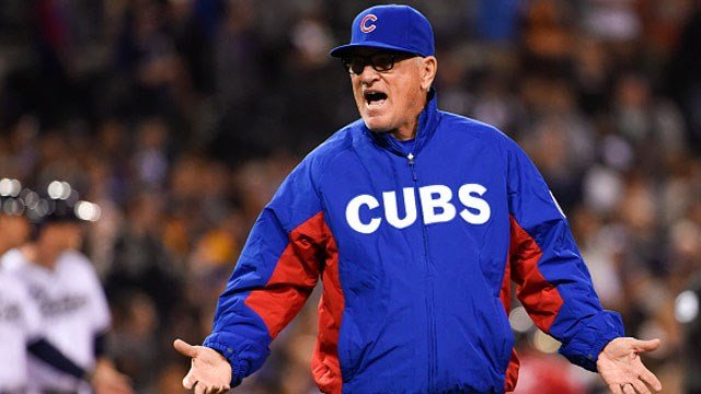 Manager Joe Maddon #70 of the Chicago Cubs argues a call during the eighth inning of a baseball game against the San Diego Padres at Petco Park May 19, 2015 in San Diego, California. (Photo by Denis Poroy/Getty Images)